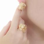 Brinco Flores e Borboletas Semijoia Banho de Ouro 18K Cravação de Zircônias