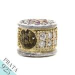 Pingente Mandala Brilho Memories Prata 925 Zircônia Banho de Ouro