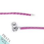 Pulseira Bracelte de Couro Trançado Prata 925 Rosa