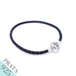 Pulseira Bracelete de Couro Trançado Prata 925 Preto