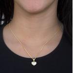 Pingente Coração Semijoia Banho de Ouro 18K Cravação de 52 Zircônias Detalhe em Ródio