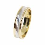 Aliança Trabalhada em Ouro 18k com 4,4 mm de Largura e detalhe em Ouro Branco