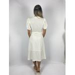Vestido Midi Manga Bufante Off White