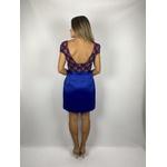 Vestido Premium Cetim Azul Royal