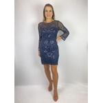 Vestido Curto Com Manga Azul Marinho