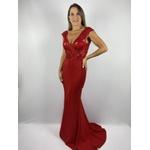 Vestido Sereia Bordado Vermelho