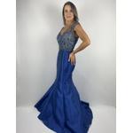 Vestido Zibeline Bordado Azul