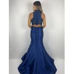 Vestido Zibeline Gola Alta Azul