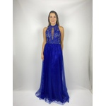 Vestido Frente Única Longo Azul Royal