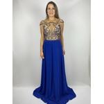 Vestido Bordado Arabesco Azul Royal