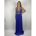 Vestido Reto Bordado Azul Royal