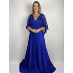 Vestido Com Capa em Guipir Azul Royal