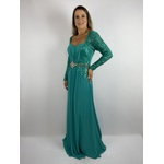 Vestido Paetê com Cinto Verde Água