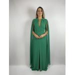 Vestido Longo Crepe Capa Verde