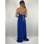 Vestido Fenda Azul