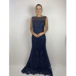 Vestido Longo Guipir Azul Marinho