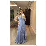 Vestido Saia Plissada Azul Maquinetado