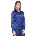 Blusa de Cetim Azul Feminina C/ Elastano Nyna