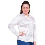 Blusa de Cetim Branca Feminina C/ Elastano Isidore