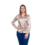 Blusa de Cetim Dourada Feminina C/ Elastano Maud Le