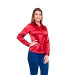 Blusa de Cetim Feminina Vermelha C/ Elastano Albertina
