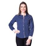 Blusa de Poá Azul Feminina Manga Longa Dafné