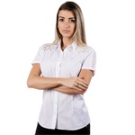 Blusa Social Branca Manga Curta Feminina Camélia