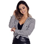 Blusão Feminino Xadrez Manga Longa Francesca