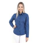 Camisa Azul Feminina Manga Longa Mahé