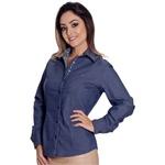 Camisa Azul Jeans Feminina Manga Longa Madeleine