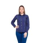 Camisa Azul Social Feminina Manga Longa Aniele