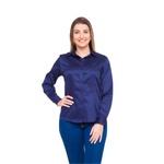 Camisa Azul Social Feminina Manga Longa Dominique