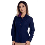 Camisa Azul Social Feminina Manga Longa Tayla