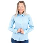 Camisa Feminina Social Azul Claro Manga Longa Venezia