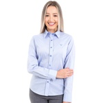 Camisa Feminina Social Denim Azul Claro Manga Longa Turim