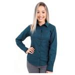 Camisa Verde Social Feminina Manga Longa Lenita