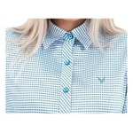Camisa Xadrez Azul e Branco Feminina Manga Longa Vivi