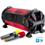 Caixa de som Bluetooth Bazuka XB650 Polyvox 200w+Par de Microfones Sem Fio Polyvox