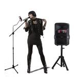 Kit Show Polyvox com Caixa Amplificada XC-512 + Tripé para Caixa + Dois Microfones sem Fio + Pedestal para Microfone com Suporte para Celular