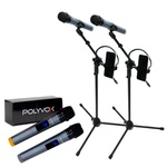 Kit Par Microfone sem Fio +2 Pedestais/Tripé para Microfone com Suporte para Celular