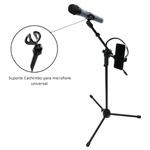 Kit Pedestal Tripé +Suporte p/ Celular+ Microfone com Fio