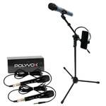 Kit Pedestal Tripé Universal para Microfone com Suporte p/ Celular + 2 Microfones com Fio