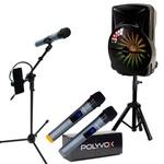 """Kit Show Polyvox Caixa de Som Amplificada 18"""" com Tripé p/ Caixa e Pedestal p/ Microfone"""