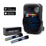 Caixa De Som Amplificada Xc-512 Polyvox Bluetooth Usb 300W + Microfone sem Fio Polyvox