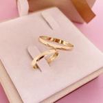 Par Aliança de Ouro 18k 3mm 2,5 gramas Abaulada com Diamante