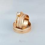 Alianças Ouro 18K 6mm 6 Gramas Athenas e Solitário Mi Amour