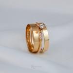 Combo Alianças Ouro 18k 3mm 3g Reta Bahamas + Solitário Saron