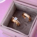 Combo Aliança de Ouro 18K 4mm 4 gramas Modelo Grécia + Solitário Diana