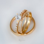 Combo Aliança em Ouro 18k 3mm 6 gramas Modelo Libra + Solitário Diana