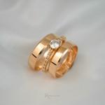 Combo Aliança Ouro 18K 4mm 4g Modelo Lucy + Solitário Mi Amour